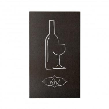 Carta vini effetto lino marrone 6 fogli