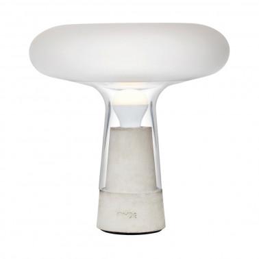 Lampada vetro satinato con base in pietra