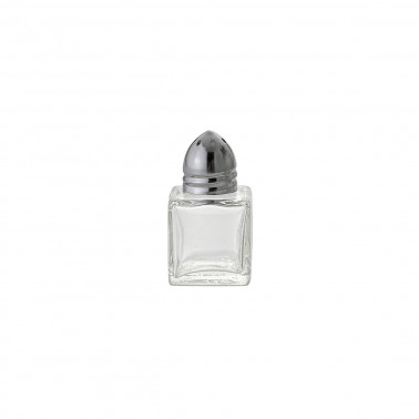 Spargisale/pepe vetro con capsula inox cubico