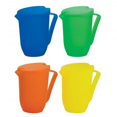 Caraffa plastica colori assortiti con coperchio lt 1,5
