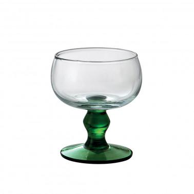 Coppa gelato mara trasparente con gambo verde Vetro Soffiato