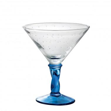 Coppa gelato merlin trasparente con gambo blu Vetro Soffiato