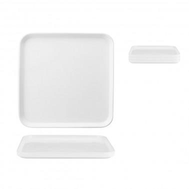 Piatto frutta quadrato Scandia impilabile porcellana bianca Morini