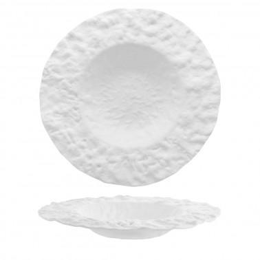 Piatto pasta Roccia vetro bianco lavorato a mano Morini