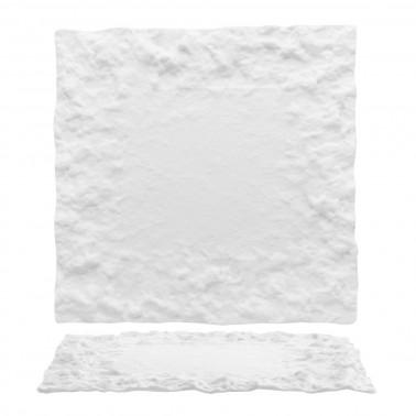 Piatto piano quadrato Roccia vetro bianco lavorato a mano Morini