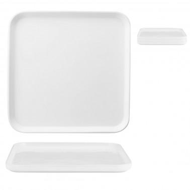 Piatto piano quadrato Scandia impilabile porcellana bianca Morini
