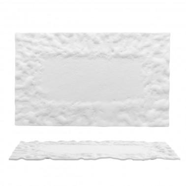 Piatto piano rettangolare Roccia vetro bianco lavorato a mano Morini