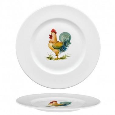 Piatto piano con disegno gallo Ginori