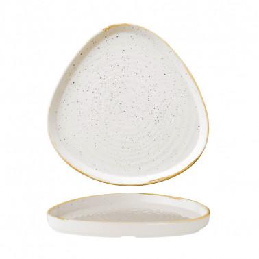 Piatto piano triangolare impilabile Stonecast Bianco puntinato 20cm