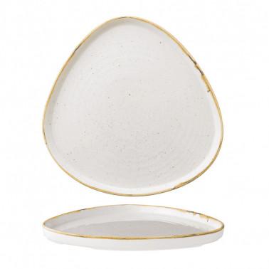 Piatto piano triangolare impilabile Stonecast Bianco puntinato 26cm