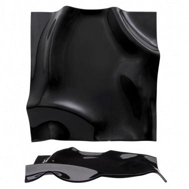 Vassoio fazzoletto di vetro nero quadrato