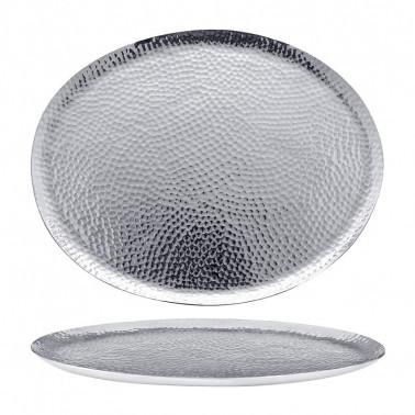 Vassoio ovale in porcellana effetto argento