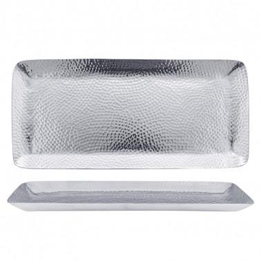 Vassoio rettangolare in porcellana effetto argento