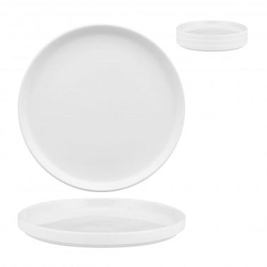 Piatto piano Scandia impilabile porcellana bianca Morini