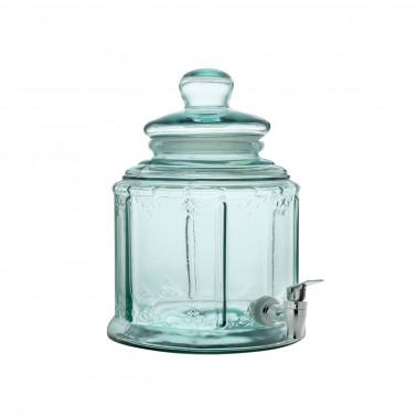 Distributore bevande vetro riciclato con coperchio e rubinetto