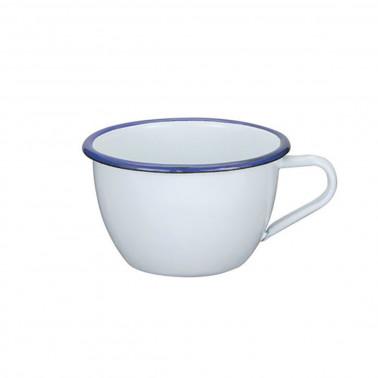 Tazza colazione bianca filo blu cl 30 Acciaio Smaltato Vintage