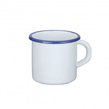 Tazza mug bianco filo blu cl 40 Acciaio Smaltato Vintage