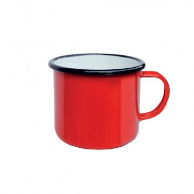 Tazza mug rosso filo nero cl 40 Acciaio Smaltato Vintage