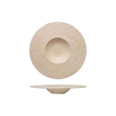 Piatto pasta sabbia porcellana effetto pietra