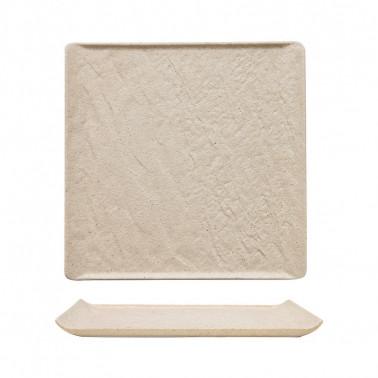 Piatto quadrato sabbia porcellana effetto pietra