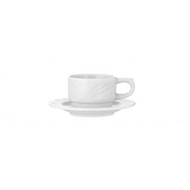 Tazza caffè con piatto Arcadia bianco