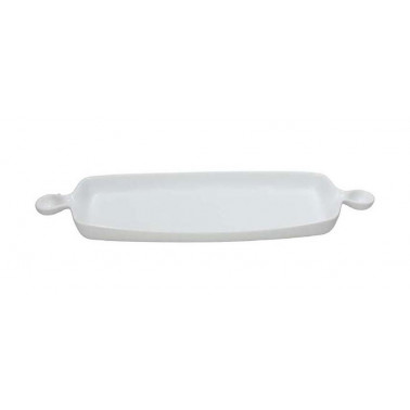 Vassoio rettangolare con 2 manici Gourmet bianco